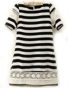 Black White Striped Contrast Lace Slim Dress US$28.33
