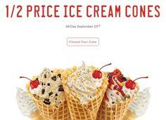 Half-Price Sonic Ice Cream Cones ~ Sept 23 Only Restaurant Deals, Restaurant Coupons, Sonic Ice Cream, Looks Yummy, Half Price, Waffles, Icecream, Favorite Recipes, Meals