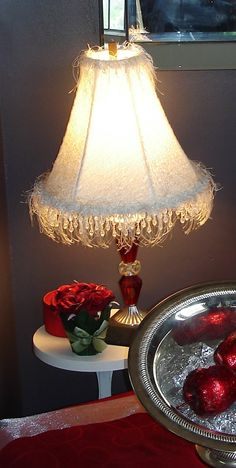 Vintage Upcycled Red and White Crystal Cut Glass Lamp with Furry, Feathered and Beaded Shade