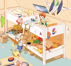 Super Smash Bros.: Pikachu, Link, Ness, Lucas, Kirby, Pichu, Toon Link,  Popo (Ice Climber) (by やまかじ, Pixiv Id 2687461)