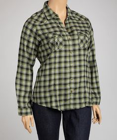 Take a look at this Green Plaid Studded Button-Up - Plus by Millenium Clothing on #zulily today! $17 !!