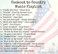 the perfect country music playlist for summer cookouts - Alexis Cortez Country Songs List, Country Music Playlist, Country Lyrics, Country Music Quotes, Country Summer Quotes, Country List, Top Country, Summer Playlist, Song Playlist