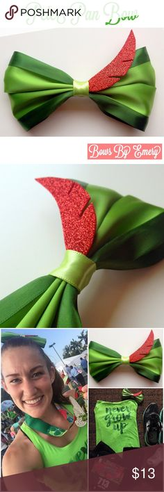 "Handmade Peter Pan Bow Peter Pan inspired bow by Bows By Emery! Vibrant satin bow with hand-cut red glitter foam feather. Secured on a barrette. These are handmade to order. Perfect for your next trip to Disney!! Bows are about 6"" wide and 3.5"" tall. Please let me know if you have any questions!! Bows By Emery Accessories Hair Accessories"