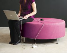 Manny ottoman by sparkeology with optional power hub at center.