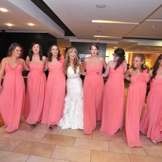 Mix match coral bridesmaids dresses from Bari Jay