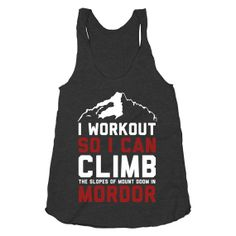 Mordor Workout 2, Climb The Steps Of Mordor Shirt, Funny, Lord Of The Rings, Shirt, Athletic Black American Apparel Racerback Tank Top