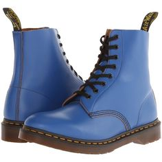 Dr. Martens Pascal 8-Eye Boot Lace-up Boots, Blue (€64) ❤ liked on Polyvore featuring shoes, boots, ankle booties, blue, ankle boots, blue ankle boots, lace up booties, lace up platform bootie and short lace up boots