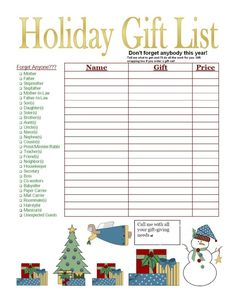 Christmas Shopping List. Let me help you cross one person off of your Christmas List.