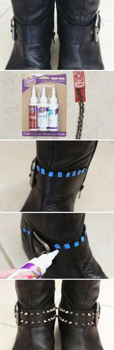 www.canvasjune.blogspot.com DIY STUDDED BOOTS by Canvas June