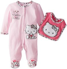 Amazon.com: Hello Kitty Baby-Girls Newborn Footed Coverall and Bib: Clothing