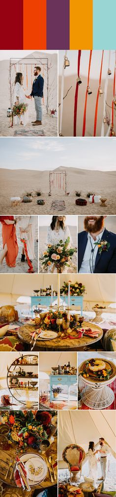 Gettin' warm desert vibes from this color palette: Cranberry + Pumpkin + Violet + Butterscotch +Sky Blue | Images by Let's Frolic Together