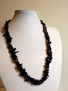 Polished Black Coral Necklace on Etsy, $68.00