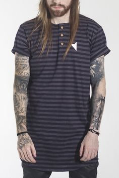 Camiseta Blue Henley - Right Here Co.
