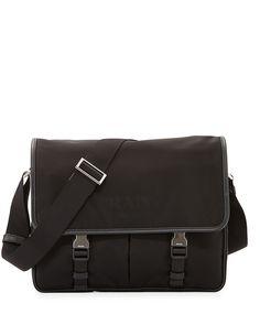 Large Nylon Messenger Bag, Black - Prada
