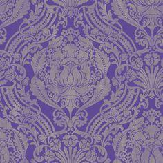 allen   roth�Purple/Silver Strippable Non-Woven Prepasted Classic Wallpaper