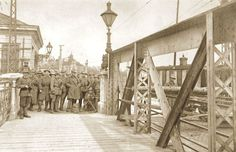 Czechoslovak legions from Italy patrolling a bridge in Bratislava.