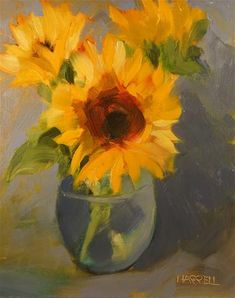 "Daily Paintworks - ""Sunflowers"" - Original Fine Art for Sale - © Sue Harrell"