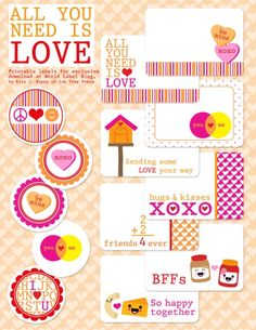 Valentine's Day Labels - all you need is Love