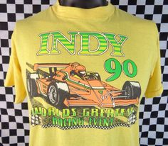 Vintage 90s Tshirt Indy Car Vtg Tee Large Soft Thin 50/50 Cotton Polyester Polycotton Race Indianapolis 500 Motor Speedway Champions