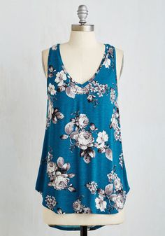 Infinite Options Top in Cerulean. Every fashionista needs pieces in their wardrobe that can be endlessly styled, and this ultra-soft, teal floral tank promises unlimited options. #blue #modcloth