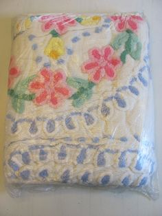 Vintage Chenille Twin Bedspread Pink Flower