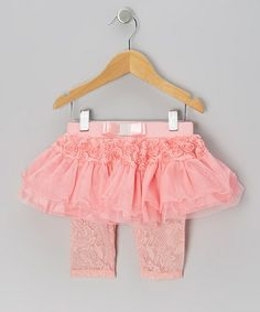 Take a look at this Coral Rosette Lace Skirted Leggings - Infant, Toddler & Girls by Just Fab Girls on #zulily today!