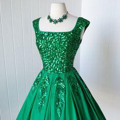 vintage 1950's dress... gorgeous EMMA DOMB emerald by traven7