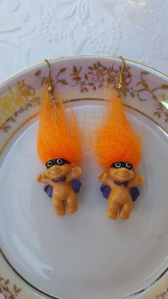 Caped & Masked Halloween Troll Doll Earrings by by TheCitrineBee