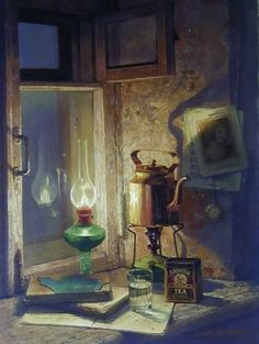 """Burning the Midnight Oil"", by Dmitri Annenkov - this is a painting, I'd love to copy it in colored pencils"