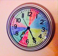 Use a colored clock to help your kids understand your day's schedule.
