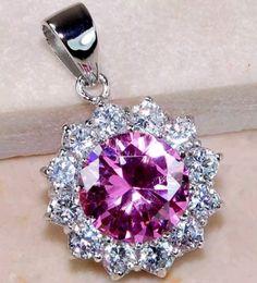 5CT Pink Sapphire & White Topaz 925 Solid Sterling Silver Pendant - Gem Artistry, LLC