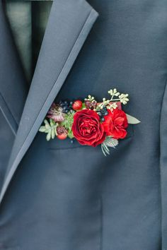 Wedding Flowers pocket square boutonniere hybrid - Get wedding inspired like this next bride by taking a trip to your local home improvement store's paint aisle. Groomsmen Boutonniere, Groom And Groomsmen, Boutonnieres, Groom Attire, Red Rose Boutonniere, Prom Corsage And Boutonniere, Red Wedding, Floral Wedding, Wedding Bouquets