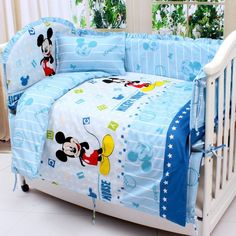 78.90$  Buy now - http://aliiax.shopchina.info/go.php?t=32382918818 - Promotion! 7pcs Mickey Mouse Crib Bedding Set For Children's Bed Crib Set Baby Bedding (4bumper+duvet+matress+pillow)  #buychinaproducts