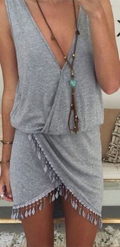Santa Monica Heather Grey Sleeveless Cross Wrap V Neck Tassel Asymmetric Tulip Mini Dress