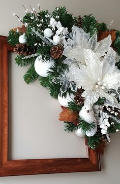Holiday picture frame wreath by marlas. Easy Christmas Decorations, Christmas Swags, Cool Christmas Trees, Christmas Centerpieces, Diy Christmas Ornaments, Holiday Wreaths, Simple Christmas, Holiday Decor, Picture Frame Wreath