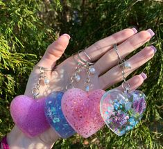 Check out my Etsy for heart keychains and other resin products! Epoxy Resin Art, Diy Resin Art, Diy Resin Crafts, Diy Arts And Crafts, Diy Crafts To Sell, Diy Crafts For Kids, Diy Resin Keychain, Cute Keychain, Keychain Design