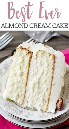 Light, moist and velvety, this Almond Cream Cake has a homemade cooked, whipped frosting that pairs perfectly with the almond cake. Decorate the cake simply with sliced almonds. #cake #creamcake #almondcake #birthda #flourfrosting