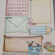 Creative Inspiration: Coffee Theme Bullet Journal Monthly Layout. Bujo monthly spread. Planner page ideas. #bujoinspire #bulletjournalart