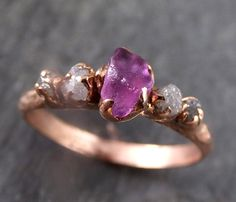 Raw Sapphire Diamond Rose Gold Engagement Ring by byAngeline