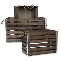 Buy The Lucky Clover Trading Wood Crate with Rope Handles Metal Corners, Antique Brown, Set of 3 - Topvintagestyle.com ✓ FREE DELIVERY possible on eligible purchases