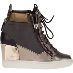 GIUSEPPE ZANOTTI Metallic Wedge Sneaker Bronze Leather ($895) ❤ liked on Polyvore