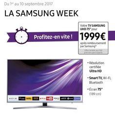 TV LED Samsung UE75MU6105 4K UHD pas cher prix Téléviseur 4K Darty 1 999,00 € TTC au lieu de 2 999 €.