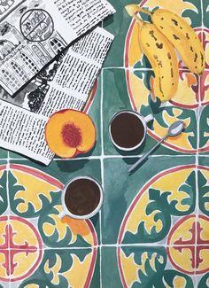 "Illustration - Cement, coffee and apricot tiles / Tiles, coffee and apricot ohkiistudio: ""☕️🍌🍑"" Art And Illustration, Cartoon Illustrations, Creative Illustration, Watercolor Illustration, Inspiration Art, Art Inspo, Art Design, Artwork Design, Oeuvre D'art"