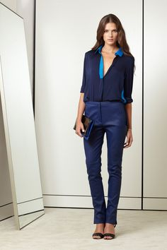 sexy and chic. every girl most own a sexy l/s sheer silk blouse and leather skinnies!! must have!  Elie Tahari Spring 2013
