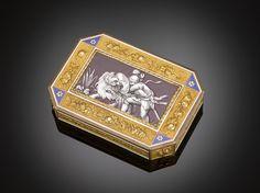 Swiss Enamel and Gold Snuff Box