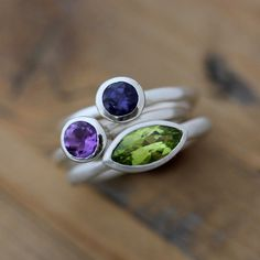Peridot, Iolite and Amethyst Rings, Marquise Gemstone and Solitaire Rings in Recycled Sterling Silver, Tarnish Resistant Birthstone Ring