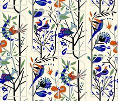 'A room with a view' custom made fabric design by English/Finnish designer Mirjamauno, © 2016