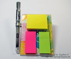 DIY Teacher gift - sticky notepad holder with Deflecto.