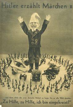 Hitler Tells Fairy Tales II by John Heartfield Photomontage, John Heartfield, Nazi Propaganda, Political Posters, Der Arm, Artist Life, Digital Collage, Cartoon Styles, Fairy Tales