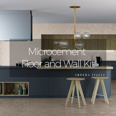 Microcement wall and floor kit offered by Impera Italia for a create durable contemporary design. Micro screed or beton cire look with an Italian finish Polished Plaster, Polished Concrete, Cement Color, Cement Walls, Contemporary Design, Flooring, Micro Cement, Paint Colours, Venetian